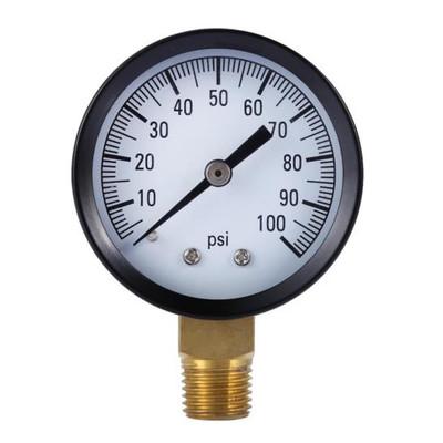 "Pressure Gauge, 0- 100 Lbs, 2"" Dia, 1/4"" MPT"