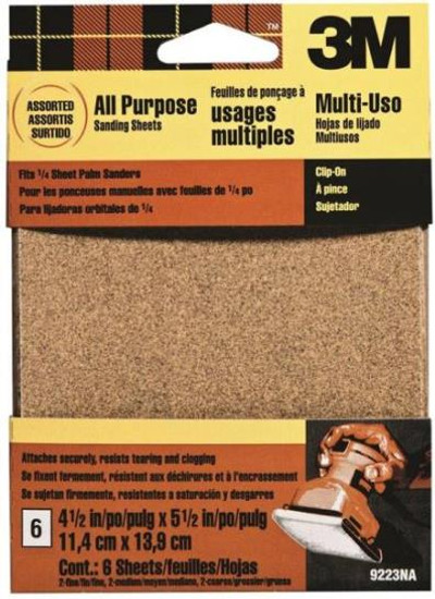"Palm Sander 1/4 Sheet Sandpaper, Assortment, 4-1/2"" x 5-1/2"""