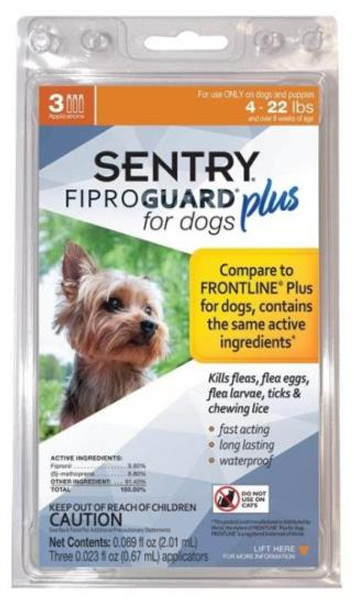 Sentry, Flea & Tick, Squeeze-On,  4-22 Lb Dogs, 3 Tubes