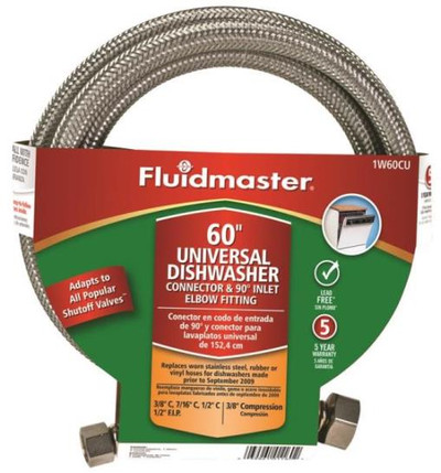 "SS, Dishwasher Supply Line, 3/8"" Comp x 60"", W 1/2"" MPT Elbow"