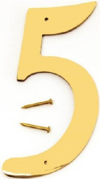 """Hy-Ko BR-40/5, Prestige Polished Solid Brass House Number 5, 4"""" Tall"""