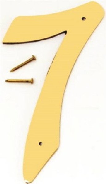 """Hy-Ko BR-40/7, Prestige Polished Solid Brass House Number 7, 4"""" Tall"""