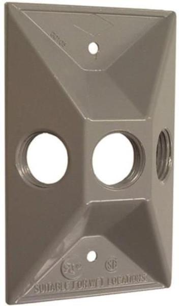 Weatherproof, Lamp Plate, 3 Hole, Gray