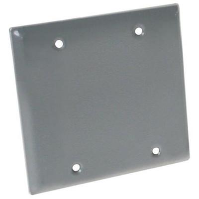 Weatherproof, 2 Gang Blank Cover Plate, Gray