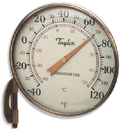Thermometer, Easy-To-Read, Weatherproof, Analog, -40 TO 120 deg F, 4-1/4 in Dia