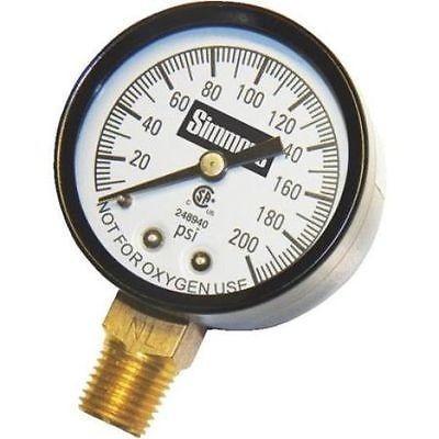 "Pressure Gauge 2-1/2"" 0-200 PSI 1/4"" MPT"