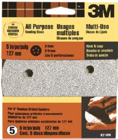 """3M, 5"""" Hook & Loop Sanding Disc, 5 Hole, 40 Grit, 5 Pack"""