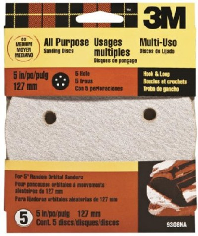 """3M, 5"""" Hook & Loop Sanding Disc, 5 Holes, 80 Grit, 5 Pack"""