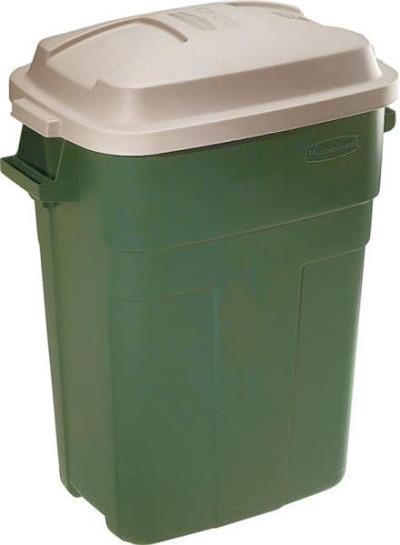 Trash Can, 30 Gallon, Rectangle, Plastic, Green