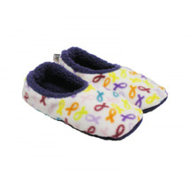 Cancer Awareness white background with Multi-Colored Ribbon Slippers by Live for Life