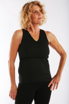 Softee by Ladies First  Black Softee Vee  V-neck tank for patient comfort immediately after surgery
