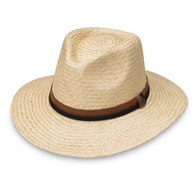 "Mens Byron hat by Wallaroo hat company is UPF 50 with a structured style in a natural palm fiber weave, a wide 3"" brim shade with Internal drawstring for a custom fit."