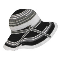 Betmar Narcissus Hat in black and white pattern