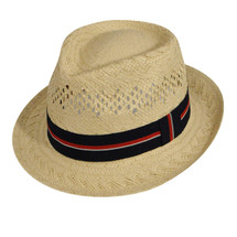 Betmar Barry Hat in a Straw weave with tri color fabric trim