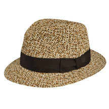 Betmar Belmonte Hat in a tri natural color braid with a brown fabric band