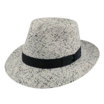 Betmar Dean hat in black, grey, white, weave with black fabric band