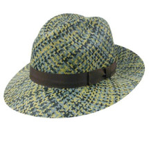 Betmar Keen Hat in yellow,blue, grey, black weave with a brown band