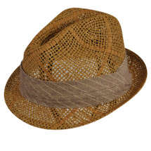 Betmar Lewis Hat in straw crochet with a striped fabric band
