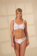 Nola Jane Embroidered Floral Elegance mastectomy bra in white called Elise