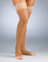 Activa Sheer Therapy Open Toe Thigh High with Lace Top 15-20 mmHg