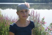 Child's Head Scarf Heather Grey with Pink Polka Dot Rosette