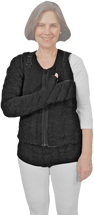 Fingertips to Clavicle & Vest Tribute Night Custom Compression Garment in black is recommended for fully involved clients. Garments can be attached with Snap-Tape or hook and loop closures to allow clients the freedom to wear all or individual pieces