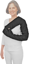Fingertips to Clavicle Chevron Style Tribute Night Custom Compression Garment Fully covers the fingers, arm, and shoulder cap. Velcro-receptive, foam-padded strap is available in black. Provides 28-30 mmHg of gradient compression at distal end and 18-20 mmHg at proximal end.