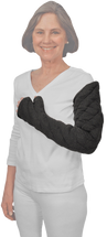 Solaris Metacarpals to Axilla Chevron Style Tribute Night Custom Compression Garment Designed for clients needing coverage over the dorsum and palmar surfaces of hand or who prefer to individually wrap their fingers Thumb coverage is optional. Provides 28-30 mmHg of gradient compression at distal end and 18-20 mmHg at proximal end.