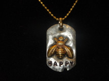 Lucky Lou Sterling Silver Bee Happy Necklace with an adjustable 17 inch chain