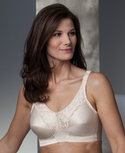 Trulife Isabel Scalloped Lace Soft Cup Mastectomy Bra in White and Nude colors.