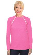 Chemo|Port-Accessible Women's Pink Long Sleeve Shirt by Comfy Chemo