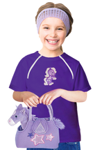 Girl's Port-Accessible Shirt & Horse Gift Set by Comfy Chemo -Purple Long or Short Sleeve with Horse patch & plush Horse toy Set