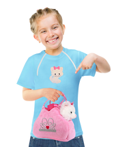 Girl's Chemo|Port-Accessible Shirt & Kitty Gift Set by Comfy Chemo - Blue Long or Short Sleeve with Cat patch and Plush cat toy set