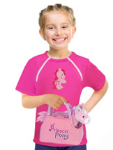 Girl's Port-Accessible Shirt & Horse Gift Set by Comfy Chemo -Pink Long or Short Sleeve with Horse patch & plush Horse toy Set