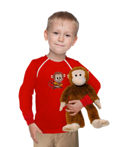Boy's Port-Accessible Red shirt with monkey patch & plush monkey toy Set by Comfy Chemo