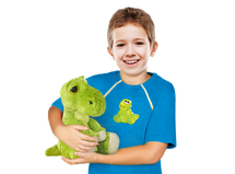 Boy's Port-Accessible blue shirt with dinosaur patch & plush Dinosaur toy Set by Comfy Chemo