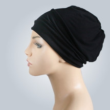 Black Casual Modal Knit Hat by Turban Diva