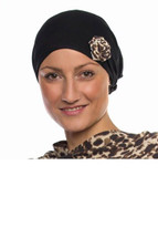 Black Headwrap with Leopard Rose by Wrapped in Love. Choose Hat Only, Poncho Only or Hat & Poncho Set