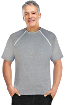 Men's Grey Short Sleeve Chemo|Port-Accessible Shirt by Comfy Chemo
