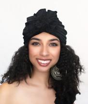 TurbanDiva Black Flower Turban by Turban Diva