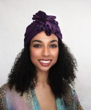 TurbanDiva Plum Flower Turban by Turban Diva