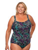 Shirred Girl Leg One Piece Mastectomy Tank in Women's - purple, blue, black leaf print