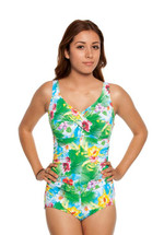 Twist Top Shirred Mastectomy Tank Swimsuit - green, yellow, pink, white leaf print