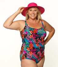 Shirred Girl Leg Mastectomy Tank in Tropicana in Women's Sizes by T.H.E.  - Aqua, pink, black tropical floral & leaf print