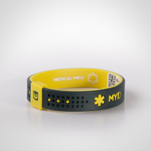 MyID Sport Medical ID Bracelet with medical online profile by Endevr - yellow and black
