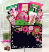 Exotic Getaway Spa Gift Box w/ Exotic Pink Lily