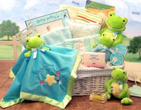 Just Hoppin Around  Baby Hamper - Large Available in Little Prince/Blue  or Little Princess/ Pink themes.
