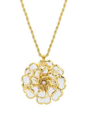 Gold & Crystal Flower Pendant by Lola Leoni