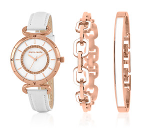 White and Rose Gold Lady's Watch and Bangle Set by Pierre Cardin