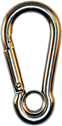Beaver Stainless Steel Carabiner with Eyelet. Size Choice.